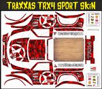 RED Gothic Skullz themed vinyl SKIN Kit & Stickers To Fit Traxxas TRX4 Sport R/C Rock Crawler